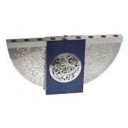 Lev Shneiderman Aluminum Intricate Cutout Blue Hanukkah Menorah