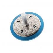 Lev Shneiderman Blue Circle Aluminum Hanukkah Dreidel