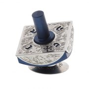 Lev Shneiderman Dark Blue Classic Aluminum Israel Hanukkah Dreidel