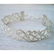 Lia Filigree Bracelet in Silver Plates - Shlomit Ofir Jewelry