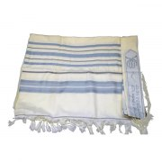 Light Blue Gray and Silver Striped Maalot Wool Tallit Prayer Shawl