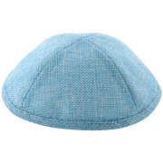 Linen Light Blue Kippah with Pin Spot