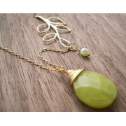 Long Jade and Branch Necklace - Shlomit Ofir Jewelry