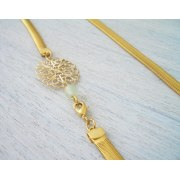 Long Slick Filigree Necklace in Gold - Shlomit Ofir Jewelry