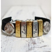 Luck Love Believe Faith Leather Bracelet