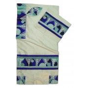 Menorahs Blue Stripes and Circles Appliqué White Silk Rikmat Elimelech Tallit