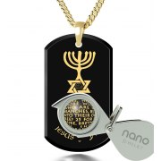 Messianic Symbol on Onyx and Gold Plated Plate Nano Jewelry