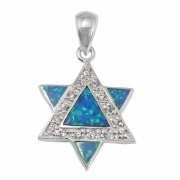 A Modern Take on a Star of David Necklace, Silver & Opal