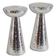 Mushroom Shape Sterling Silver Hammered Shabbat Candlestics