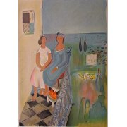 Nahum Gutman - Two girls on Balcony