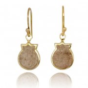 14K Gold and Jerusalem Stone Pomegranate Drop Earrings