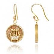 14K Gold Diamonds and Jerusalem Stone David's Harp Earrings