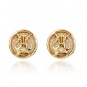 14K Gold Diamond and Jerusalem Stone David's Harp Stud Earrings