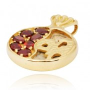 14K Gold Garnets and Jerusalem Stone Pomegranate Pendant