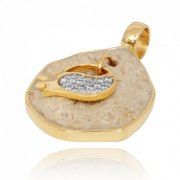 14K Gold Diamonds and Jerusalem Stone Pomegranate Pendant
