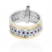 Silver Gold and Sapphire Jewish Spinner Ring with Shema Yisrael