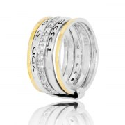 Silver Gold and White CZ Jewish Spinning Ring with Shema Yisrael
