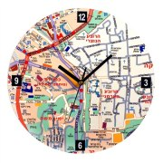 Old of Jerusalem Map, Wall Clock