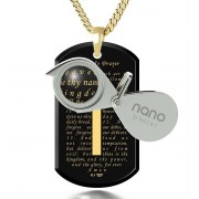 The Lord's Prayer on Onyx and Gold Plated Plate Nano Jewelry