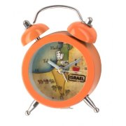 Orange Mini Alarm Clock with Israel Map
