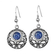 Ornate Silver Roman Glass Dangling Earrings