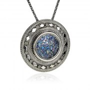 Ornate Silver Round Roman Glass Necklace