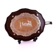 Oval Challah Board Polished Wood and Silver Plate