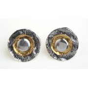 Oxidized Silver and Plated Gold Disc Earrings  - Idit Jewelry