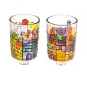 Painted Glass Oil Candle Holders Jerusalem