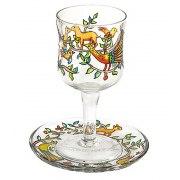Yair Emanuel Painted Glass Kiddush Goblet & Saucer - Oriental