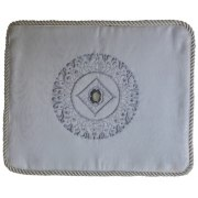 Personalized White Velvet Tallit Bag with Silver Embroidered Pattern