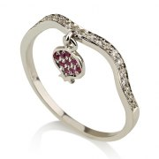 14K Gold Pomegranate Ring Set with Rubies and Diamonds