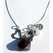 Healing Amethyst Pendant Necklace with Kabbalah Charms