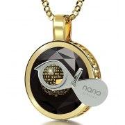 14K Gold Round Frame Psalm 23 with Cubic Zirconia Nano Jewelry