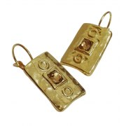 Rectangle Gold Plated and Crystals Earrings, Israeli Jewelry