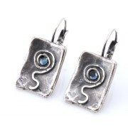 Rectangle Silver Plated and Blue Crystals Earrings, Israeli Jewelry