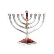 Rectangular Hanukkah Menorah Purple Orange with Dreidel Charm
