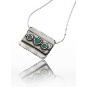 Rectangular Sterling Silver and Opal Heart Necklace