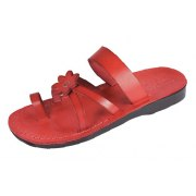 Red Flower Toe Strap Israeli Handmade Leather Sandals