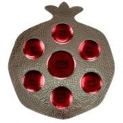 Red Pomegranate Shaped Aluminium Passover Plate