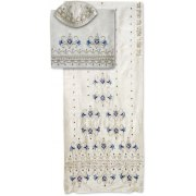 Rikmat Elimelech White Silk Tallit with Flowers and Gold and Blue Scrollwork