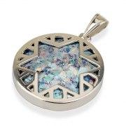 Roman Glass and Silver Star of David Circle Pendant