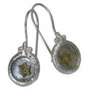 Roman Glass and Silver, Star of David Drop Earrings