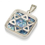 Roman Glass and Silver Star of David Square Pendant