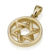 Rounded Woven Star of David Necklace 14K Gold in Circle