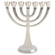Seven Branch Aluminum Menorah with Silver Color Canes