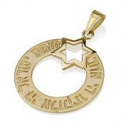 Shema Circle Banner 14K Gold Star of David Necklace