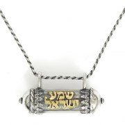 Shema Yisrael Mezuzah Necklace with Book of Psalms
