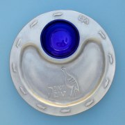 Shraga Landesman Silver Alloy & Blue Glass round Honey Tray