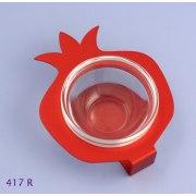 Shraga Landesman Aluminum and glass Pomegranate Honey Dish - Red